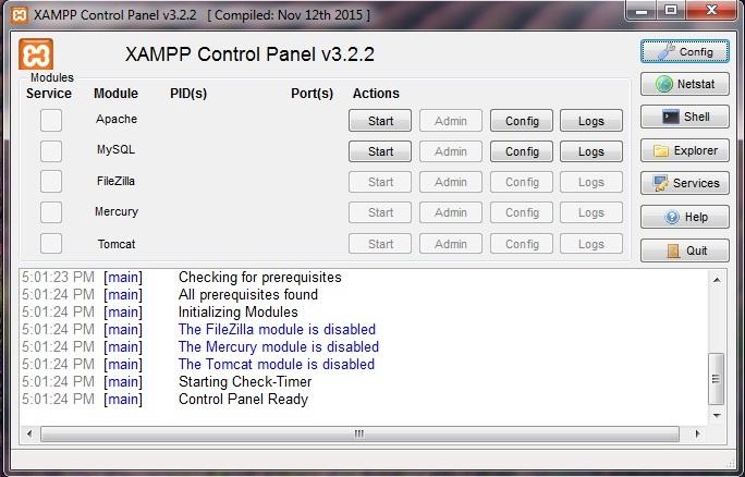 XAMPP - Control panel