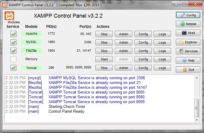 XAMPP - control panel ready