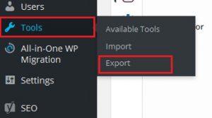 export wordpress