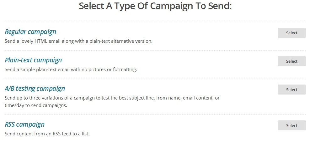 select campaign type