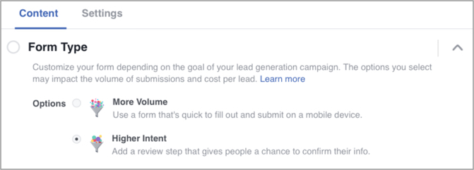 "Customize Your Lead Form with ""Higher Intent"""