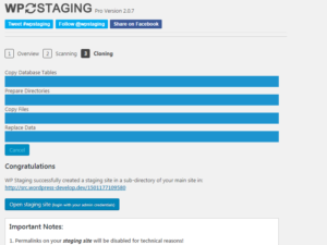staging version of your site.