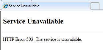 503 Service Unavailable Error